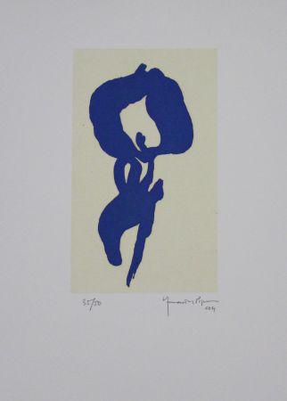 Aquatinta Hernandez Pijuan - Iris Blau V / Blue Iris V