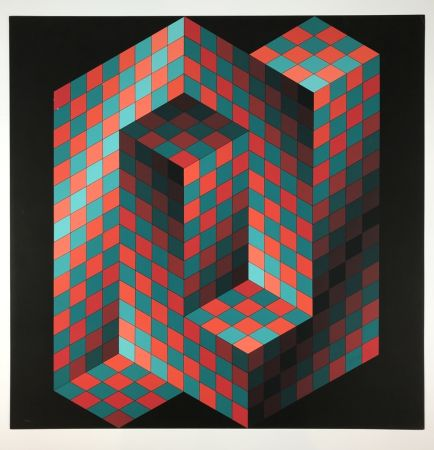 Lithographie Vasarely - Izzo-Rouge-Vert
