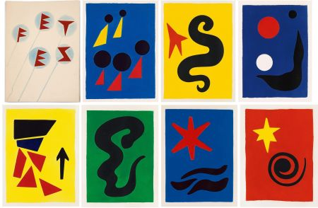 Illustriertes Buch Calder - J. Prévert : FÊTES. 7 aquatintes originales de Calder (1971)