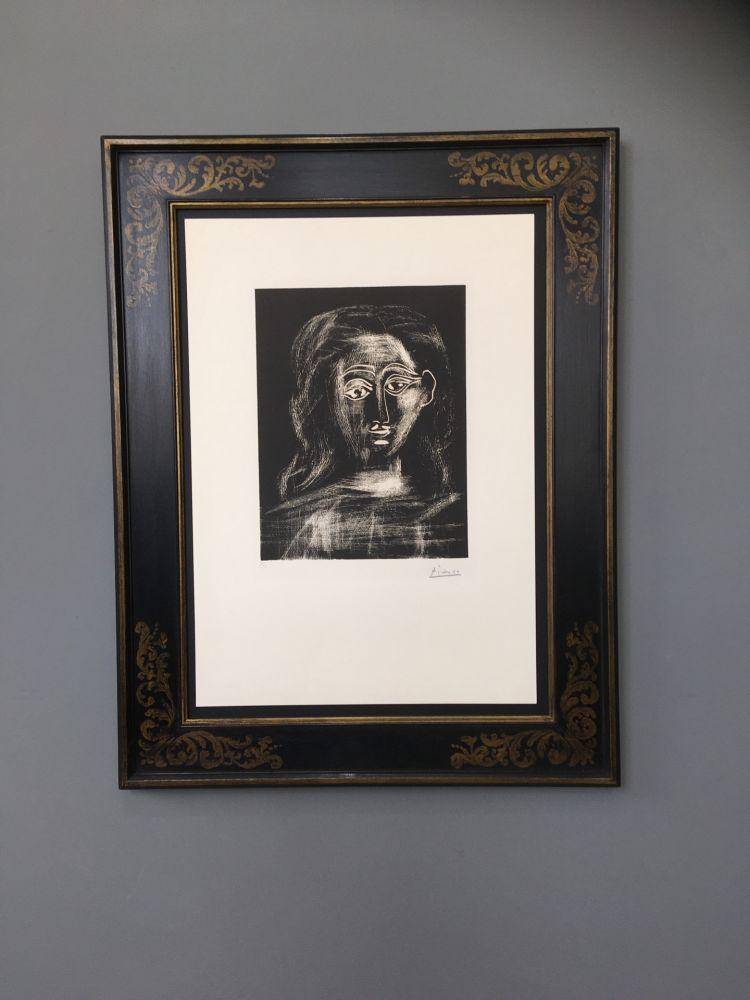 Linolschnitt Picasso -  Jacqueline aux chevaux flous, en buste