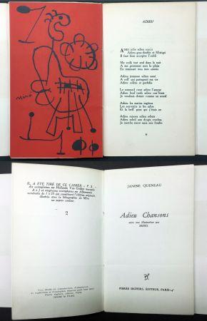 Illustriertes Buch Miró - Janine Queneau : ADIEU CHANSONS. Avec une illustration par Miro (1951).