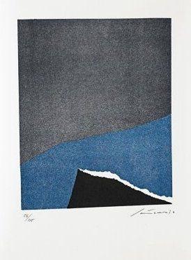 Lithographie Santomaso - Jean Cassou: vingt-deux poèms