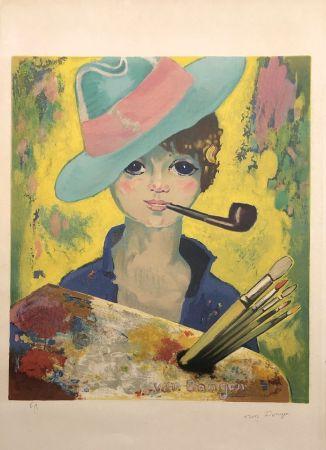 Lithographie Van Dongen - Jean Marie avec un chapeau et une pipe