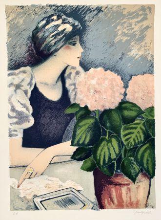 Lithographie Cassigneul  - Jeune Femme au Hortensia