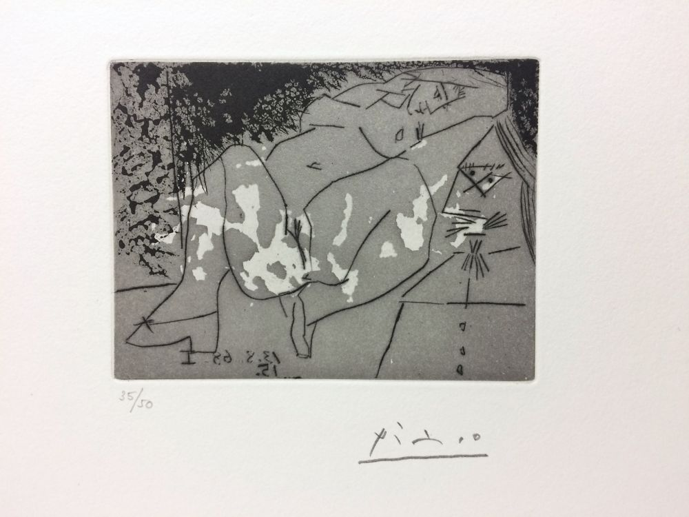Stich Picasso - Jeune femme et «mousquetaire». Aquatinte. 1968.