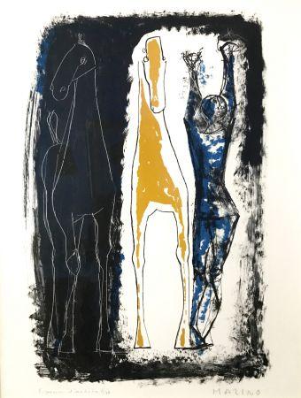 Lithographie Marini - Jongleur et Deux Chevaux
