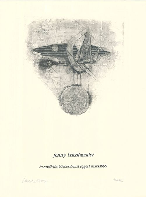 Radierung Und Aquatinta Friedlaender - Jonny Friedlaender in niedlichs bücherdienst eggert märz 1965