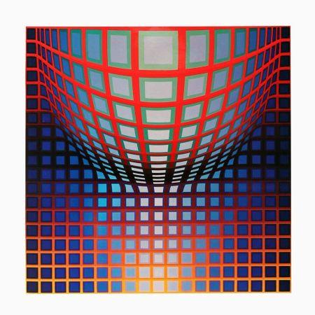 Heliogravüre Vasarely - '' KEZDI - VEGA ''
