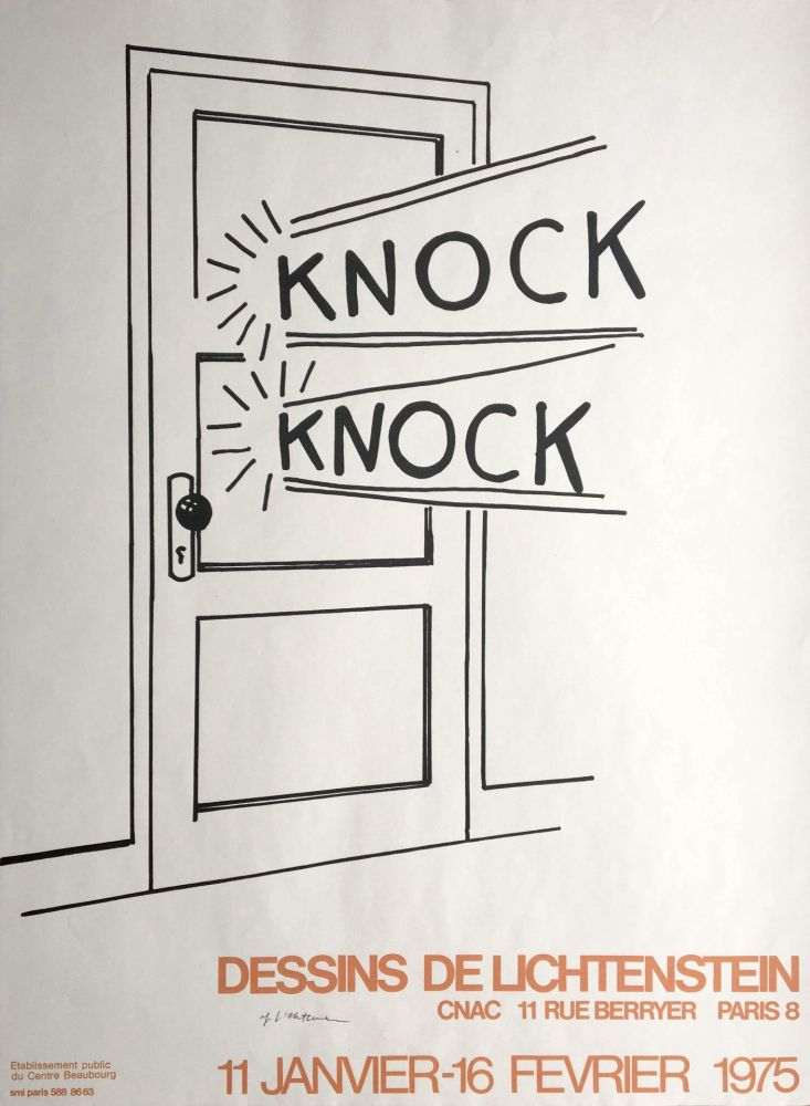 Lithographie Lichtenstein - Knock Knock (Hand Signed) Pop Art Poster Print 1975