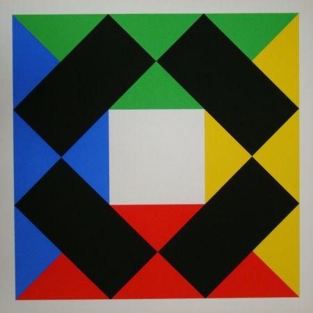 Siebdruck Bill - Komposition mit weissem Zentrum