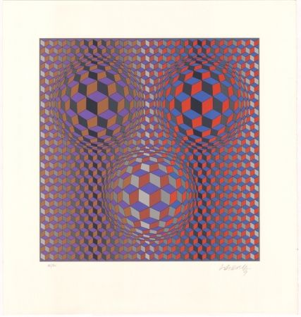 Lithographie Vasarely - Konjunktion