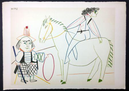 Lithographie Picasso - L'écuyère et l'homme au cerceau (de La Comédie Humaine - Verve 29-30. 1954)