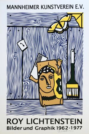 Lithographie Lichtenstein - 'Léger Head with Paintbrush' Hand Signed Pop Art Poster Print