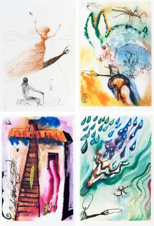 Illustriertes Buch Dali - L. Carroll: ALICE IN WONDERLAND. 1 eau-forte et 12 bois et héliogravures en couleurs. Avec suite sur Japon nacré (1969).