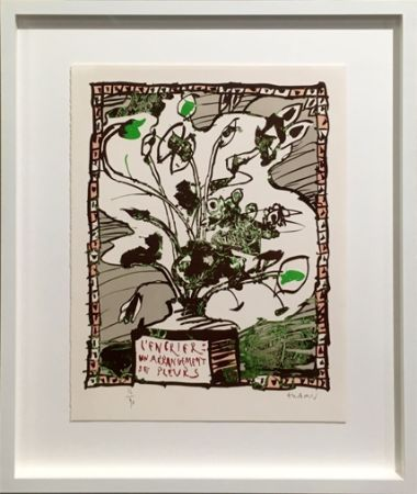 Lithographie Alechinsky - L' encrier un arrangement de fleurs