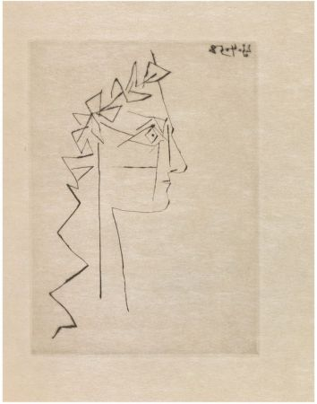 Illustriertes Buch Picasso - L. Scheler : SILLAGE INTANGIBLE. Poème accompagné d'une pointe sèche de Pablo Picasso (1958).