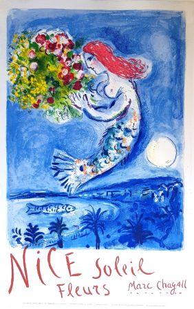 Lithographie Chagall - La Baie des Anges Nice Soleil Fleurs
