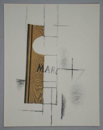 Pochoir Braque - La Bouteille De Marc - Papier Collé, 1913
