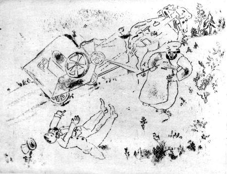 Radierung Chagall - La Britchka S'est Renversée