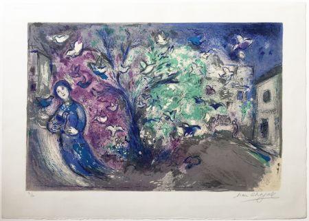 Lithographie Chagall - LA CHASSE AUX OISEAUX (The bird chase). Daphnis et Chloé. 1961