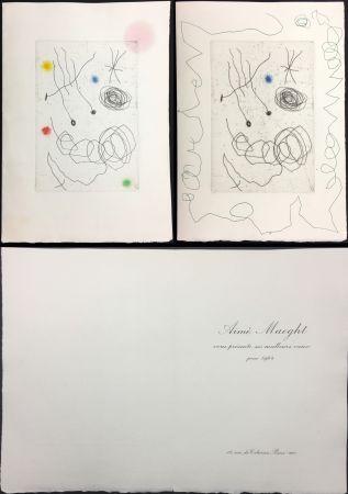 Radierung Und Aquatinta Miró - LA CHOUETTE ET L'ESCARGOT (Maeght, Vœux pour 1964). 2 états.