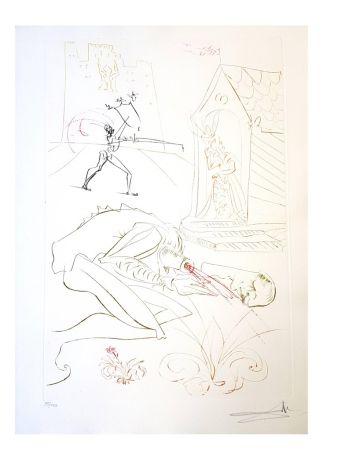 Lithographie Dali - La Dame de Malehaut