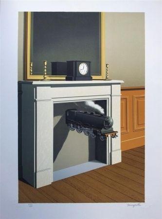 Lithographie Magritte - La durée poignardée (Time Transfixed)
