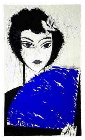 Radierung Und Aquatinta Valdés - La Femme à l'éventail