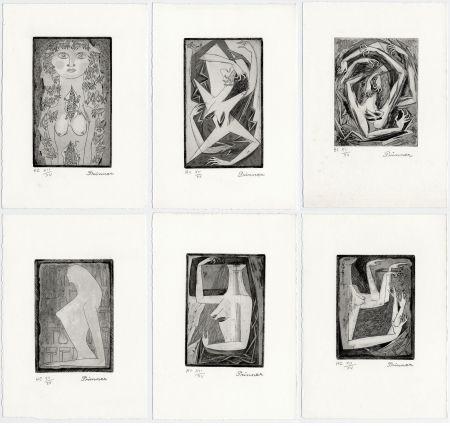 Radierung Prinner - LA FEMME TONDUE. Suite complète à grandes marges (1946)