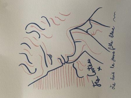 Lithographie Cocteau - La jeune fille bleue