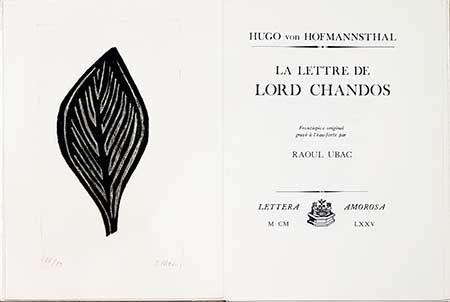 Illustriertes Buch Ubac - La lettre de Lord Chandos