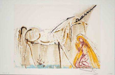 Lithographie Dali - La Licorne