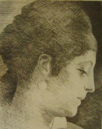 Stich Marcoussis - La mère de l'artiste, jeune, de profil