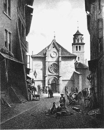 Lithographie Fontanesi - La Madeleine