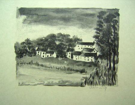 Lithographie Vlaminck - La Naze, le Village