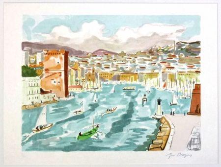 Lithographie Brayer - La passe du vieux port