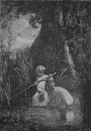 Radierung Fontanesi - La pesca