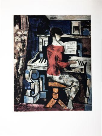 Radierung Und Aquatinta Gromaire - La pianiste