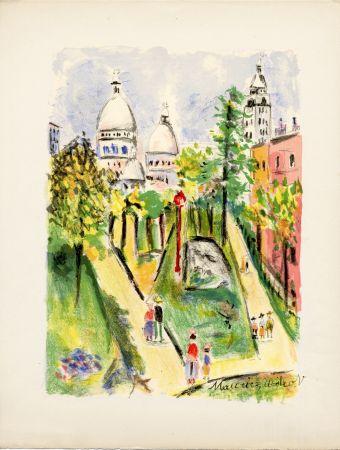 Lithographie Utrillo - LA PLACE SAINT-PIERRE (le Sacré-Cœur). Épreuve pour Maurice Utrillo (1955)