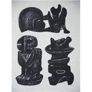 Lithographie Moore - La Poésie Three Sculptural Forms