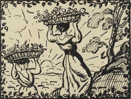 Keine Technische Espagnat (D') - La récolte des roses circa 1906