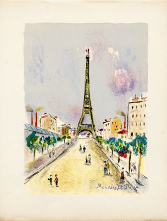 Lithographie Utrillo - LA TOUR EIFFEL. Épreuve pour Maurice Utrillo (Paris, 1955)