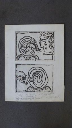 Stich Alechinsky - Labyrhinte et reine ,crapaud et labyrinthe