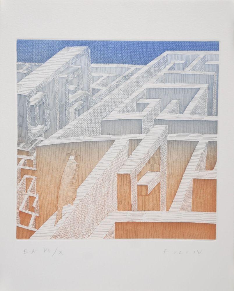 Radierung Und Aquatinta Folon - Labyrinthe