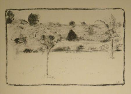 Lithographie Amiet - (Landschaft mit Bäumen)