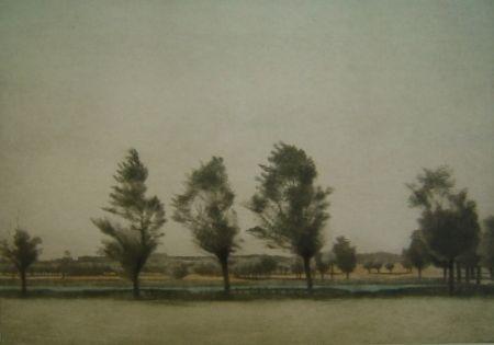 Mezzotinto Ilsted - Landskab fra Falster - Landscape at Falster