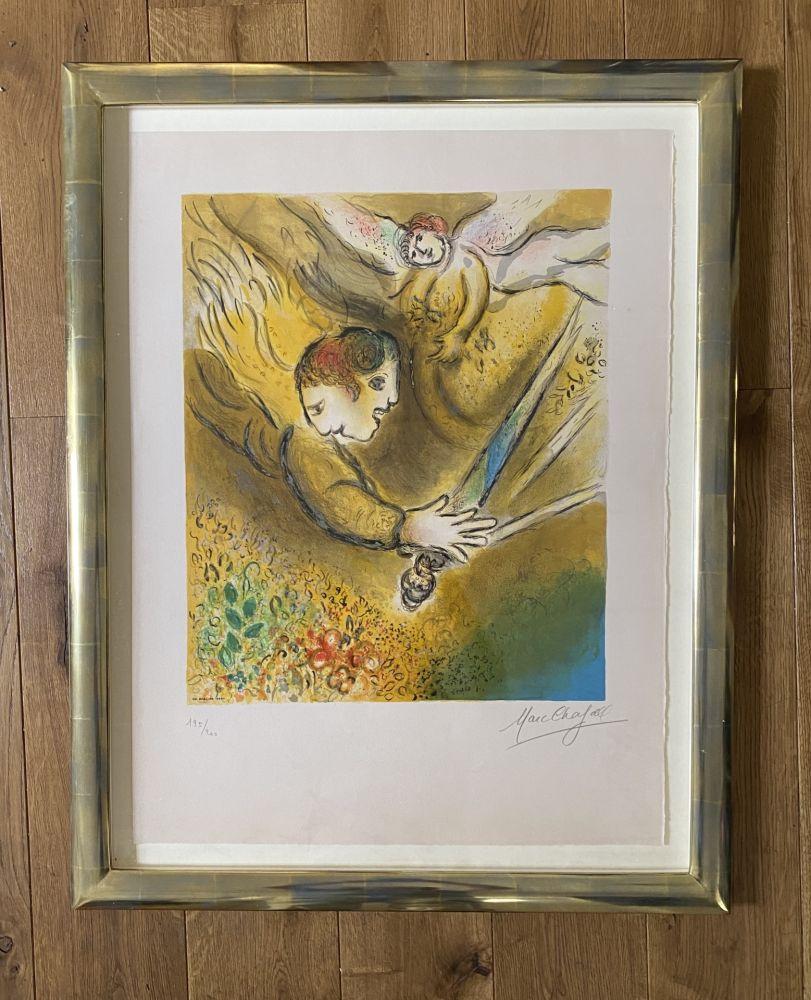 Lithographie Chagall (After) -  L'ange du jugement