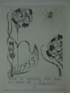 Kaltnadelradierung Laboureur - L'Araignée aux fleurs