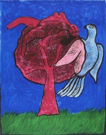 Lithographie Corneille - L'Arbre Rouge