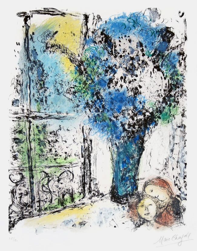 Lithographie Chagall - Le Bouquet Bleu (The Blue Bouquet)
